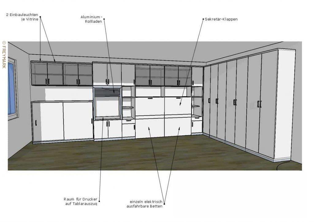 Planungszeichung Homeoffice Arbeitszimmer mit Gästebetten Schreinerei Freymark Freiburg