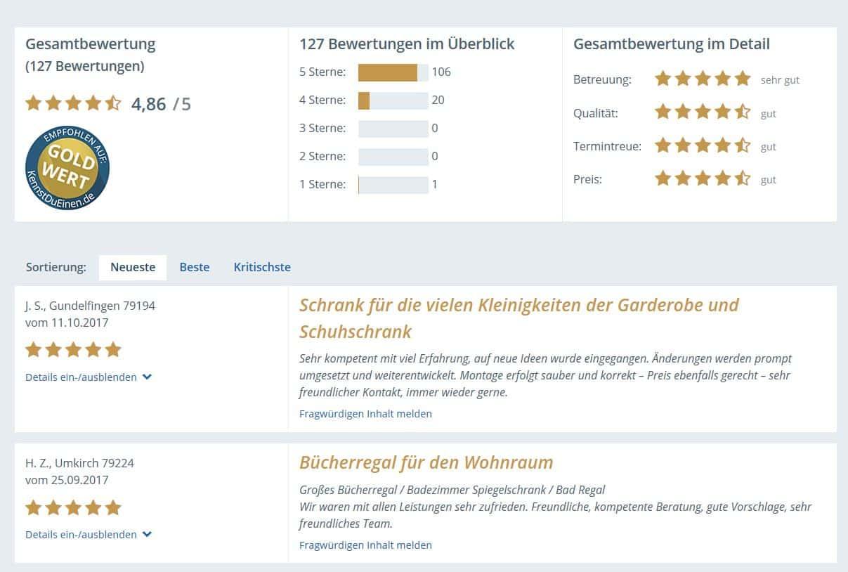 Bewerten Sie uns - gute, beste Bewertungen für die beste Schreinerei in Freiburg