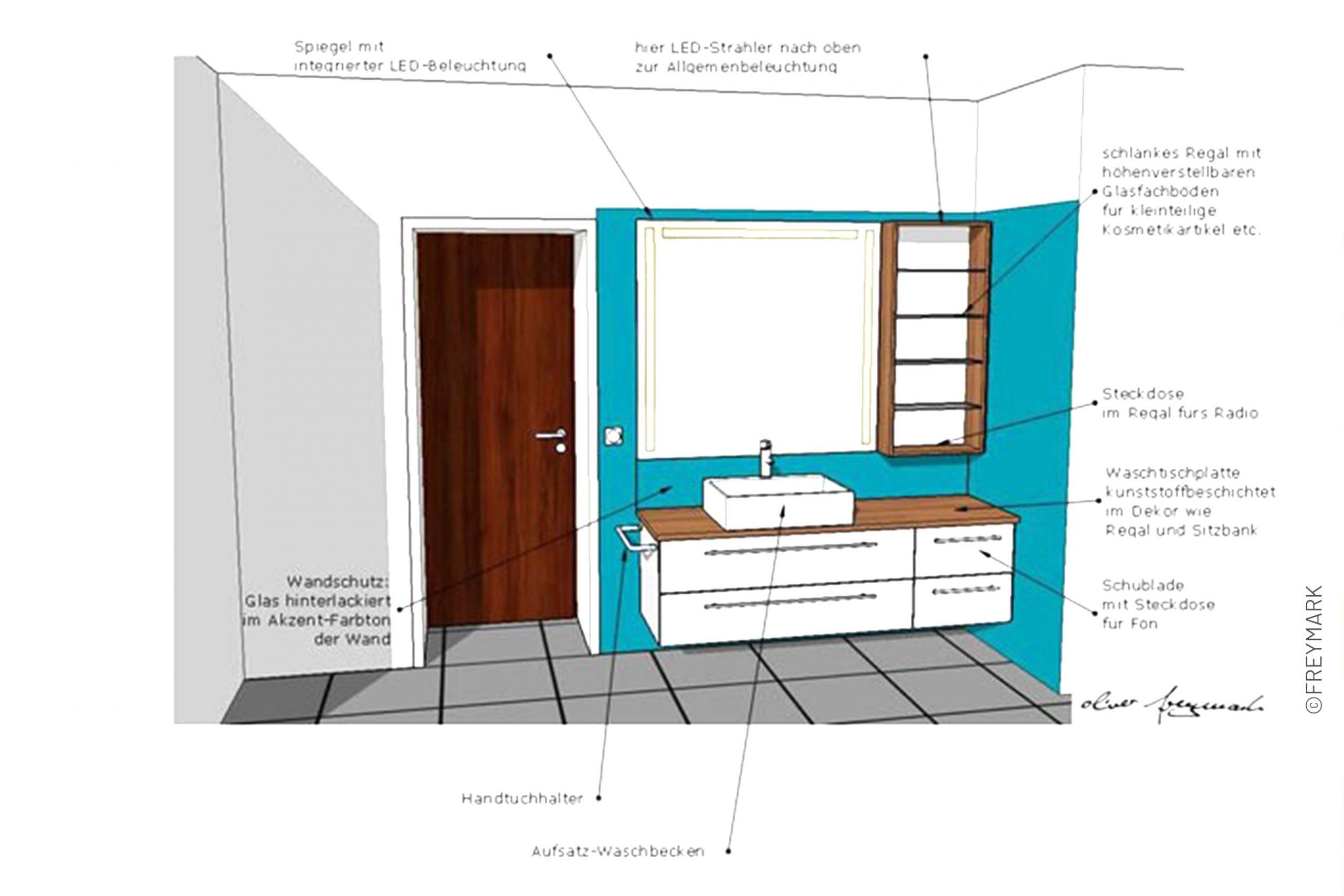 Schreinerei Freymark Freiburg Badgestaltung Entwurfszeichnung Badezimmer