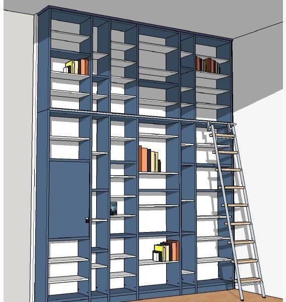 Schreinerei Freymark Freiburg - Bibliothek Entwurfszeichnung