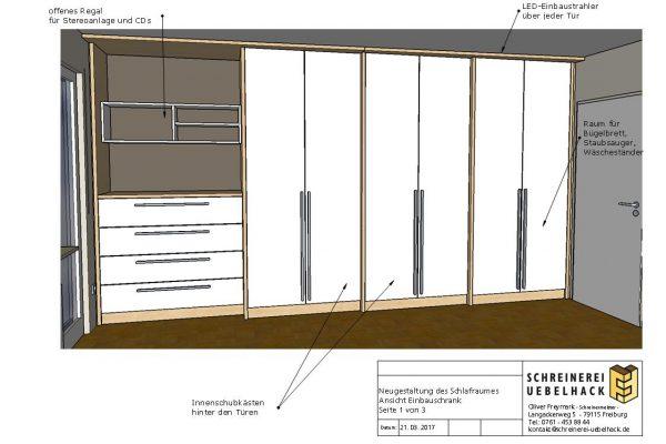 Möbelentwurf Raumgestaltung Kleiderschrank Schreinerei Freymark Freiburg