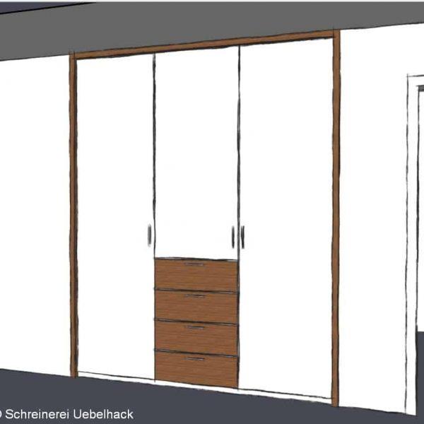 Schreinerei Freymark Freiburg - Gestaltung einer Garderobe - Entwurfszeichung