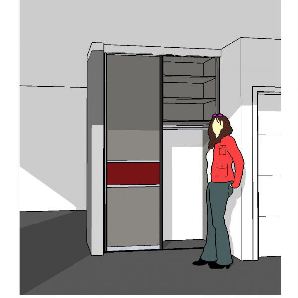 Schreinerei Freymark Freiburg Entwurfszeichnung Garderobe massgeschreinert