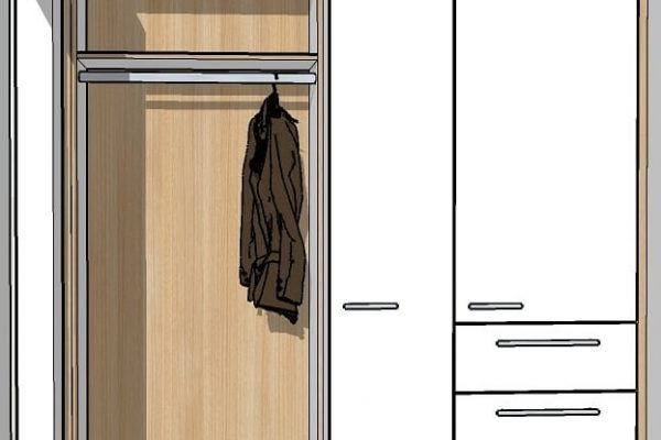 Schreinerei Freymark Freiburg Garderobe in Eiche und weiß - Entwurf