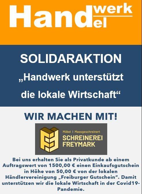 """Solidaraktion """"Handwerk unterstützt die lokale Wirtschaft"""" Wir sind dabei!"""