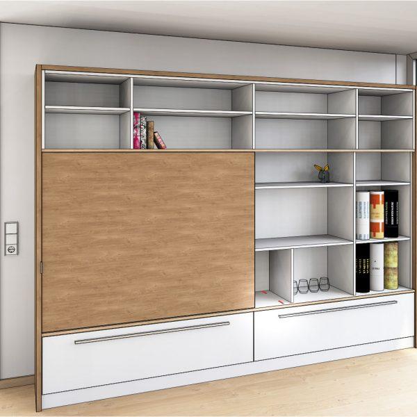 Entwurfszeichnung für ein neues Wohnzimmer-Regal mit Schiebetür vor dem Fernseher