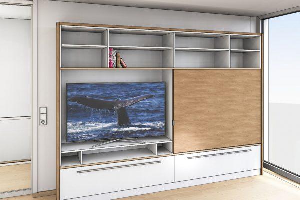 Präsentationszeichnung für ein neues Wohnraum-Möbel, hier mit geöffneter Schiebetür vor dem Fernseher